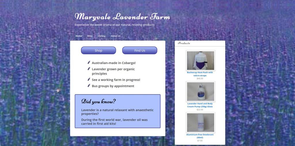 Maryvale Lavender Cobargo - Webhive website
