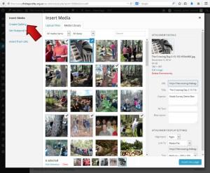 Click Create Gallery - Inserting a thumbnail gallery - Webhive - Web Design Batemans Bay, Moruya, Narooma, Tilba, Cobargo, Bega