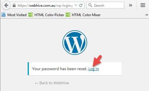 How to change your WordPress password - Password has been reset - log in