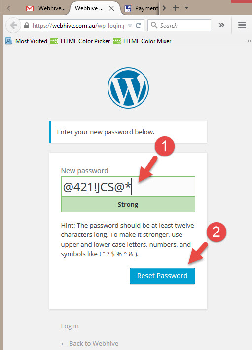 How to change your WordPress password - Type your new password and click reset password